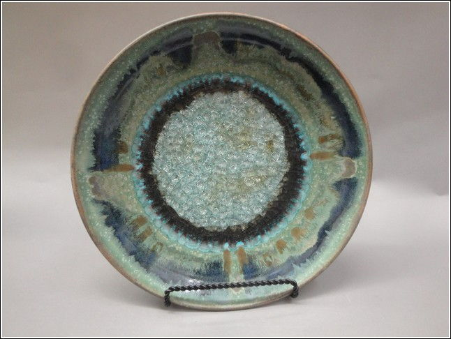 KB338 Platter with Glass Green at Hunter Wolff Gallery