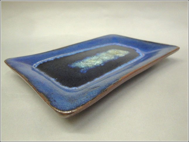 KB346 Rectangle Tray Blue/Copper at Hunter Wolff Gallery