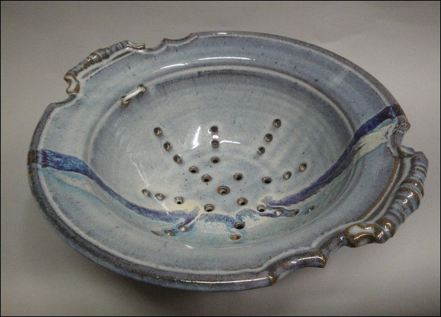 TH-5889 Large Colander, Blue at Hunter Wolff Gallery