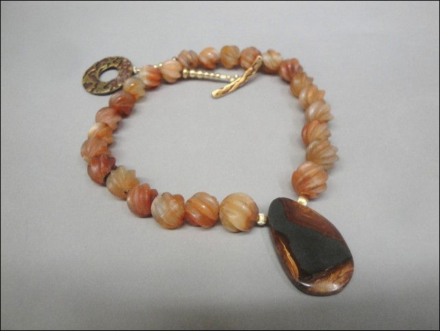 6187 Necklace, Rare Carved Carnelian with Agate at Hunter Wolff Gallery