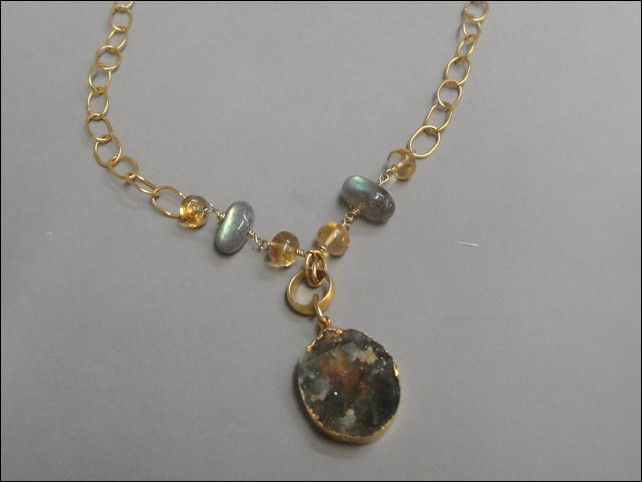 Click to view detail for 7328 Necklace, Citrine and Labradorite Accents
