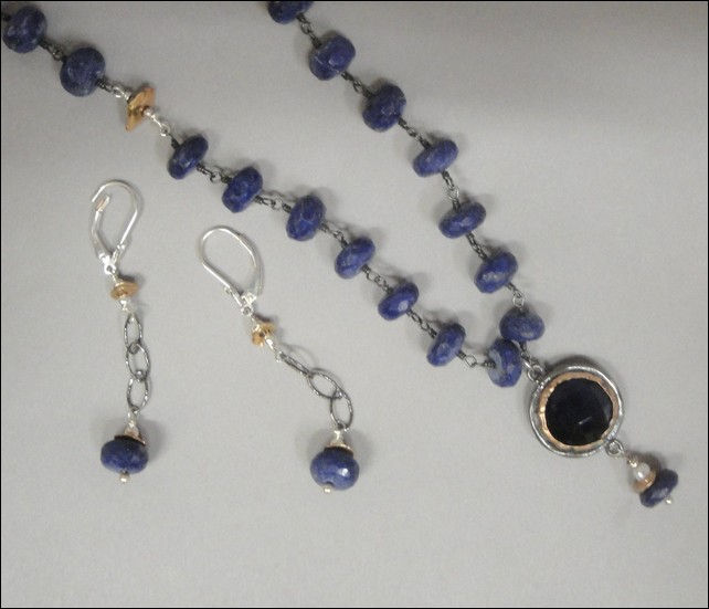 Click to view detail for 7357 Faceted Lapis Chain with Blue Quartz
