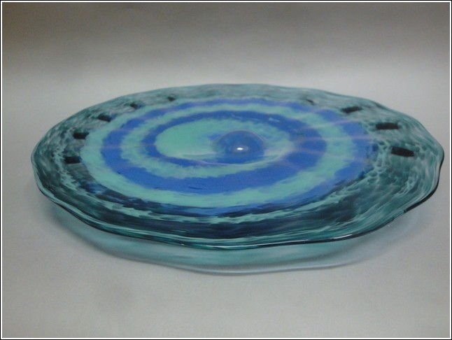 DB-031 Footed Swirl Plate in Teal and Blue at Hunter Wolff Gallery