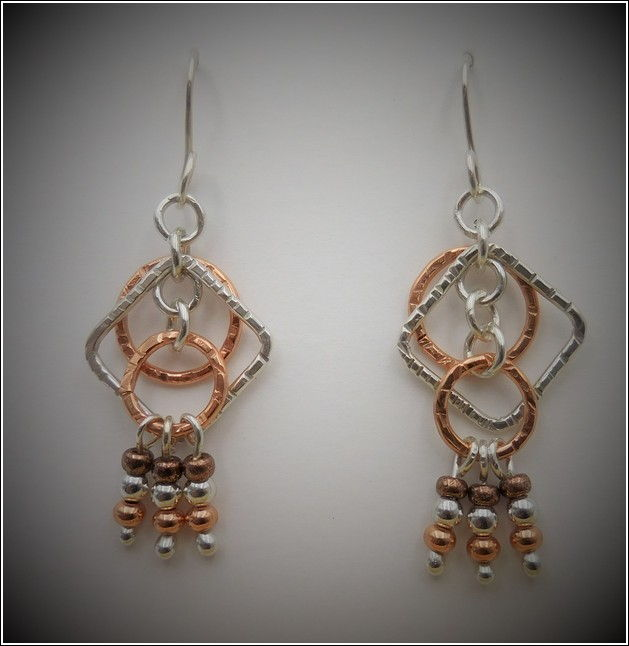 Click to view detail for DKC-742 Earrings Copper Circles Silver Squares