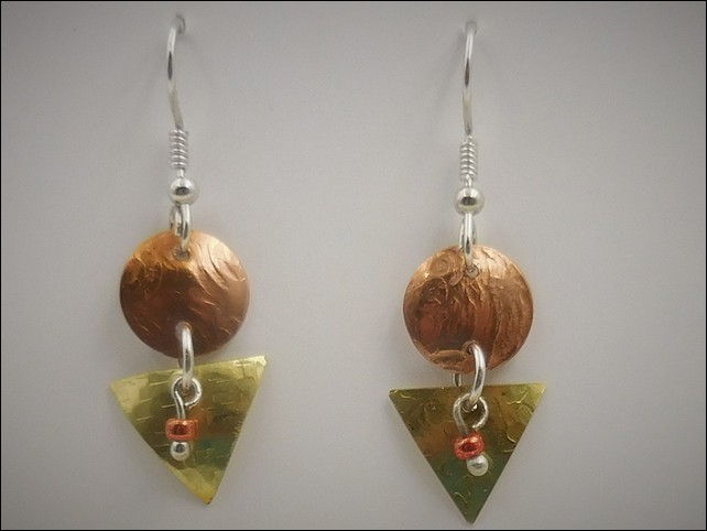 Click to view detail for DKC-760 Earrings, Copper & Brass