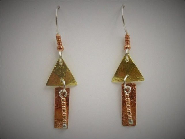 DKC-765 Earrings Brass and Copper at Hunter Wolff Gallery