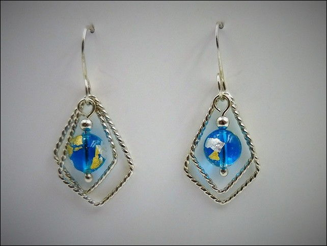 Click to view detail for DKC-772 Earrings Diamonds, Turquoise, Murano Glass