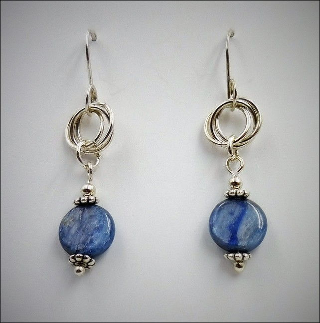 DKC-776 Earrings, Circles and Kyanite at Hunter Wolff Gallery