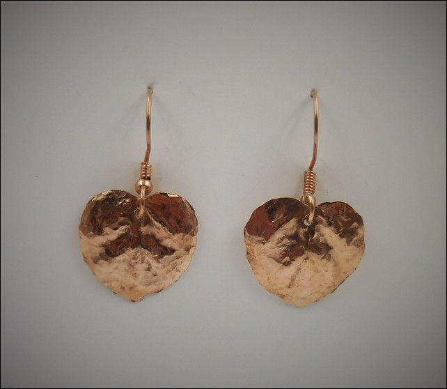 Click to view detail for DKC-779 Copper Aspen Leaf Earrings