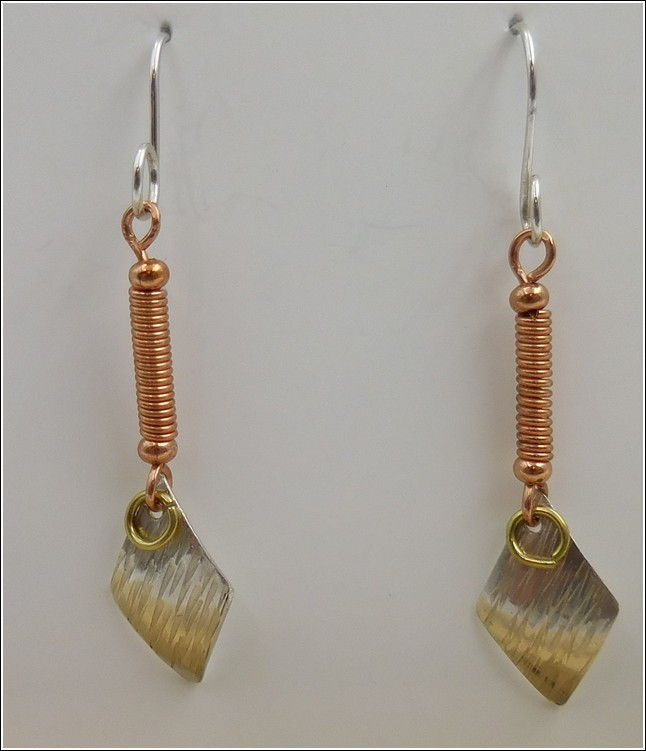 Click to view detail for DKC-784 Earrings Silver & Coiled Copper