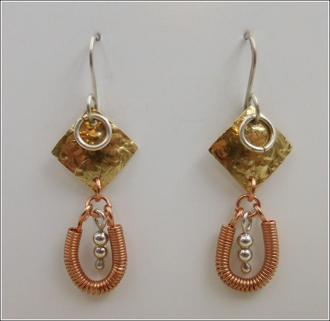 Click to view detail for DKC-785 Earrings Copper, Brass & Sterling Silver