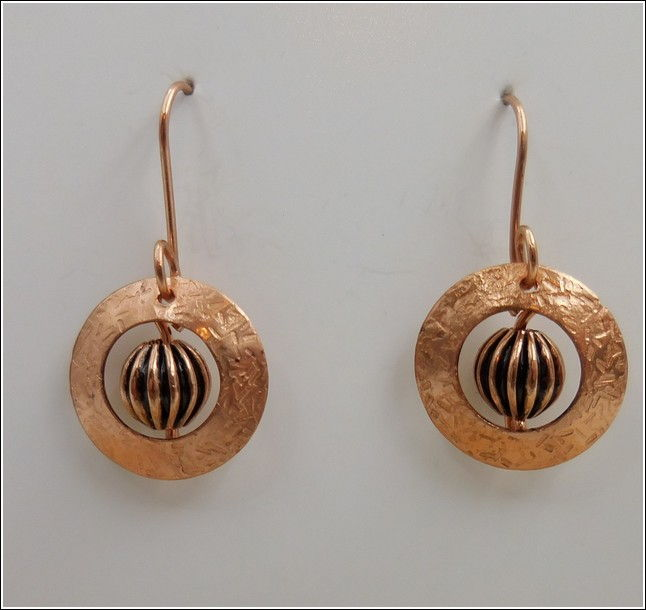 DKC-786 Earrings Copper Circles & Bead at Hunter Wolff Gallery