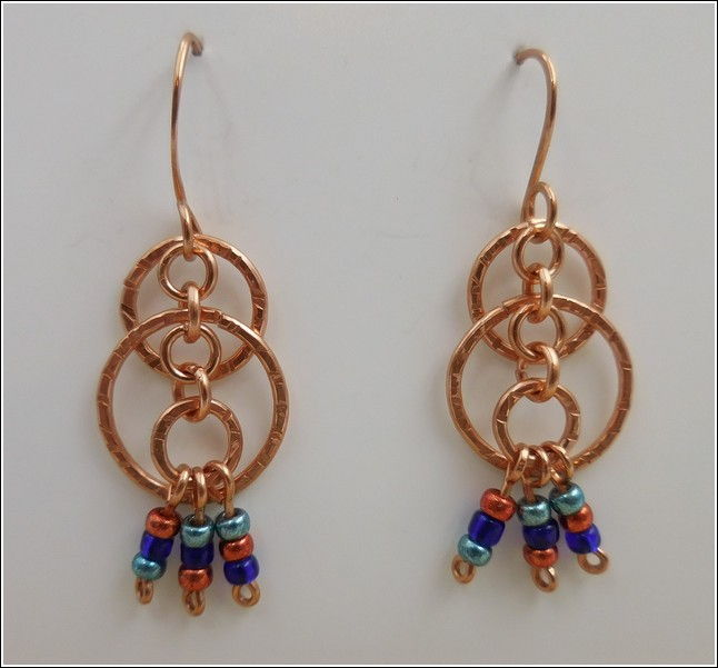 Click to view detail for DKC-787 Earrings Copper & Czech Beads