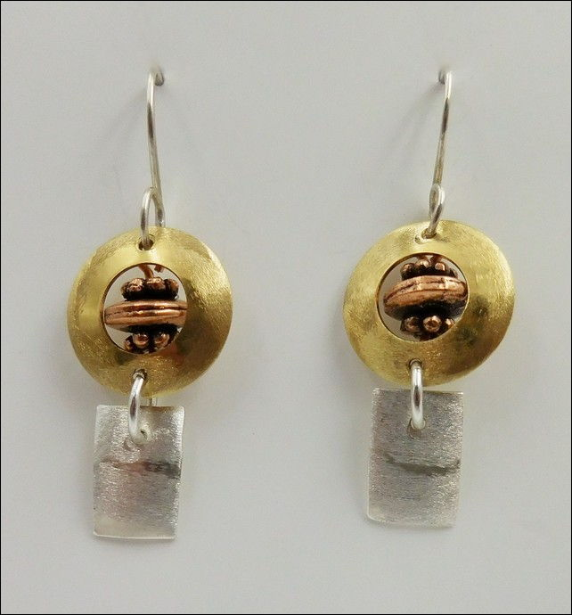 DKC-812 Earrings Silver, Copper and Brass at Hunter Wolff Gallery