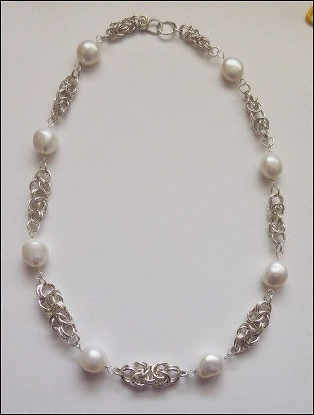 DKC-815 Pearls with Argentium Sterling Silver  at Hunter Wolff Gallery