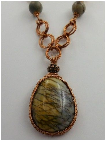 Click to view detail for DKC-833 Necklace, Copper & Jasper