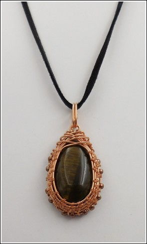 Click to view detail for DKC-835 Necklace Copper & Tiger Eye, Cord