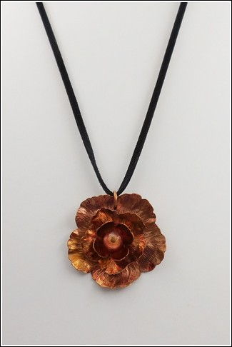 DKC-836 Necklace Copper Flower on Velvet Cord at Hunter Wolff Gallery