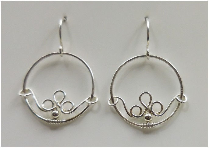 DKC-844 Earrings Silver, Circles & Moonstone at Hunter Wolff Gallery