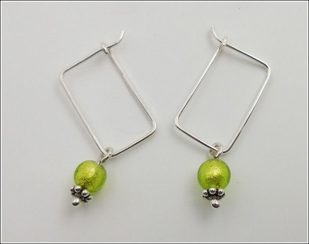 DKC-846 Earrings, Sterling Silver, Murano Bead at Hunter Wolff Gallery