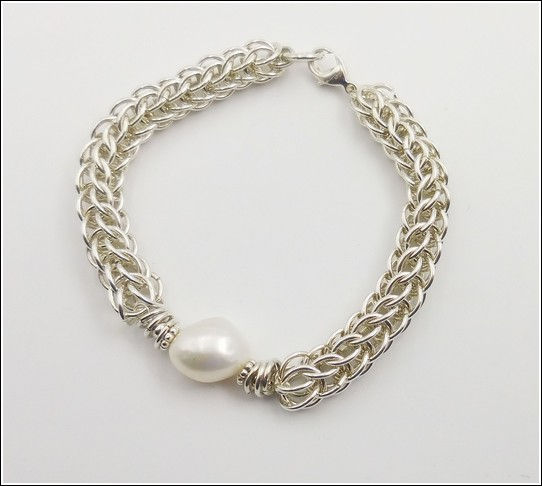 DKC-847 Bracelet, Perisan Weave, Baroque Pearl at Hunter Wolff Gallery