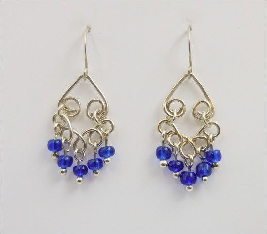 Click to view detail for DKC-869 Earrings filigree blue Czech Glass