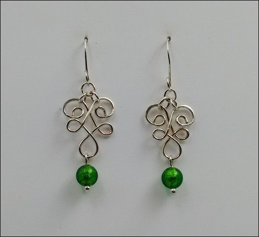 Click to view detail for DKC-871 Earrings Arg. Silver filigre, green MG