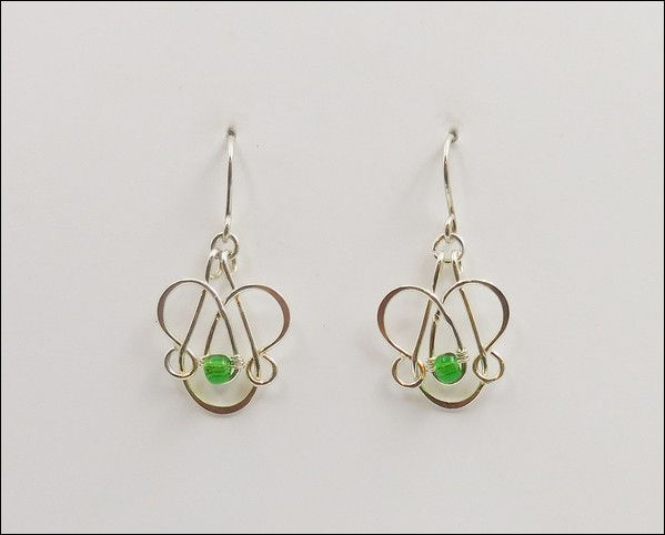 Click to view detail for DKC-872 Earrings Arg. Silver Green Swarovski