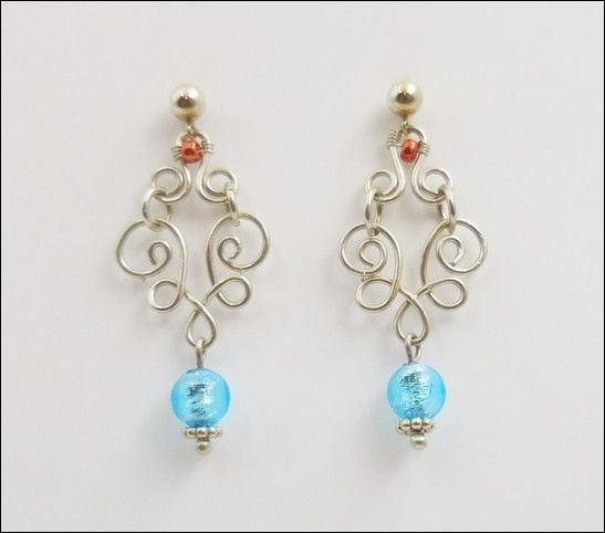 Click to view detail for DKC-874 Earrings Sterling Turquoise Murano Glass