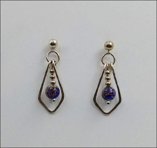 Click to view detail for DKC-879 Earrings Teardrop and Blue-Gold MG