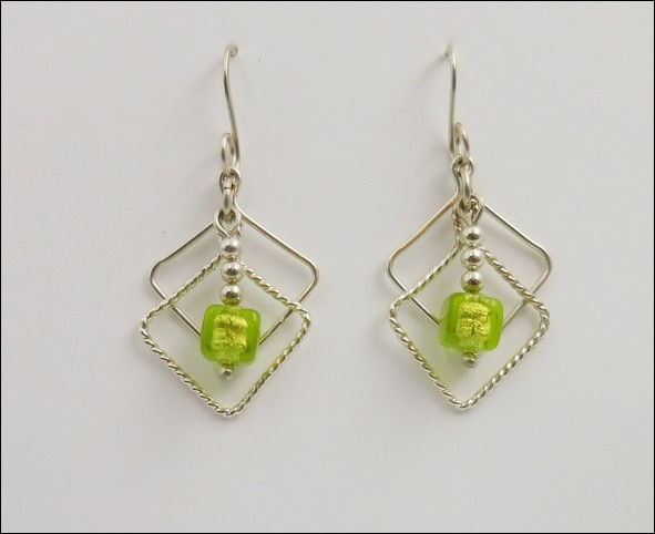 Click to view detail for DKC-880 Earrings Double Squares Lime Green MG