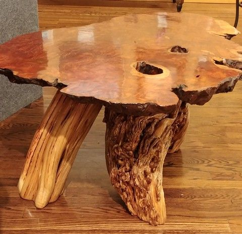 JW-151 Coffee Table Reclaimed Redwood and Juniper at Hunter Wolff Gallery
