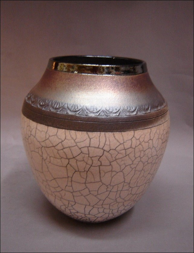 Click to view detail for MP-037 White Crackle Raku Vase