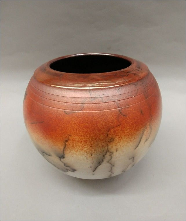 Click to view detail for MP-066 Raku Vessel Horsehair