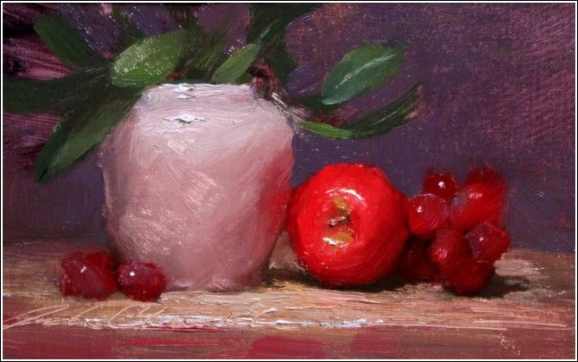 Red Apple with White Vase at Hunter Wolff Gallery