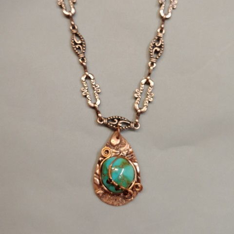 Click to view detail for DM-070 Pendant, Copper and Turquoise