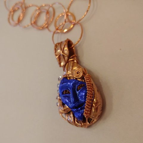 Click to view detail for DM-078 Pendant, Mardi Gras, Enameled Copper $110
