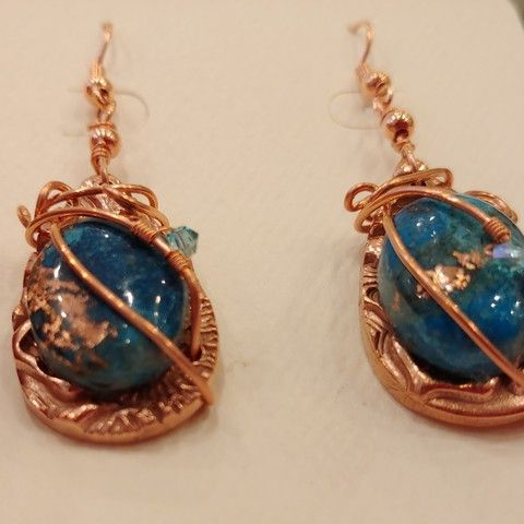DM-080 Earrings, Blue/Gold Color Treated TQ at Hunter Wolff Gallery