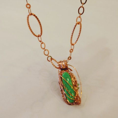 Click to view detail for DM-085 Pendant, Color-treated TQ, Green/Gold
