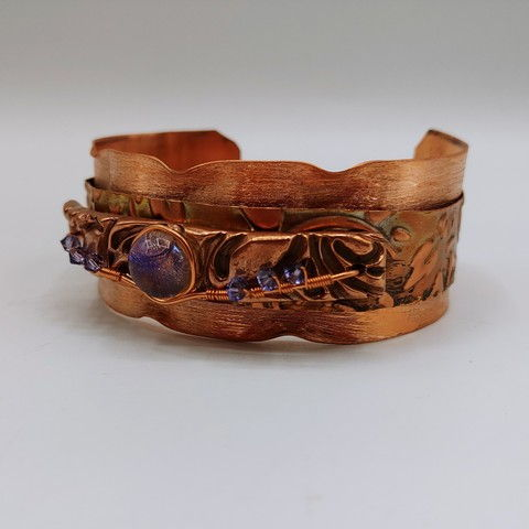 Click to view detail for DM-094 Bangle, Copper, Dichroic Glass & Crystals $100