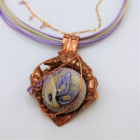 Click to view detail for DM-100 Pendant Lavender Polymer Clay with Swarovski Crystals $99