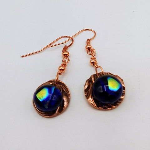 Click to view detail for DM-112 Earrings Copper Circle Cobalt Cabochon $32