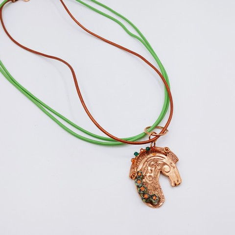 Click to view detail for DM-114 Pendant  Copper Horsehead, Green $70