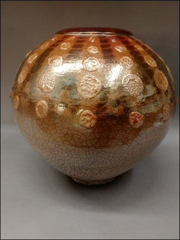 Click to view detail for Large 3-Time Fired Raku Vessel 12