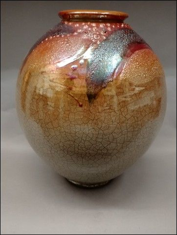 Click to view detail for Large 3-Time Fired Raku Vessel 13