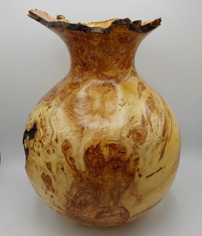 Click to view detail for JW-176 Aspen Burl Vessel, Tall 15.5x11 $1100