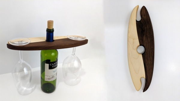 Click to view detail for BEN-25027 YIN YANG Wine Bottle Glasses Holder $39