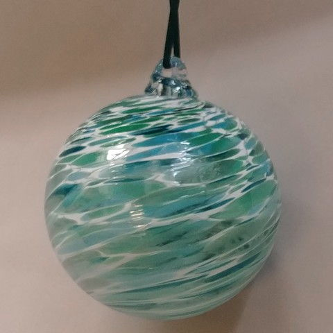 Click to view detail for DB-274 Ornament - frit twist op. teal