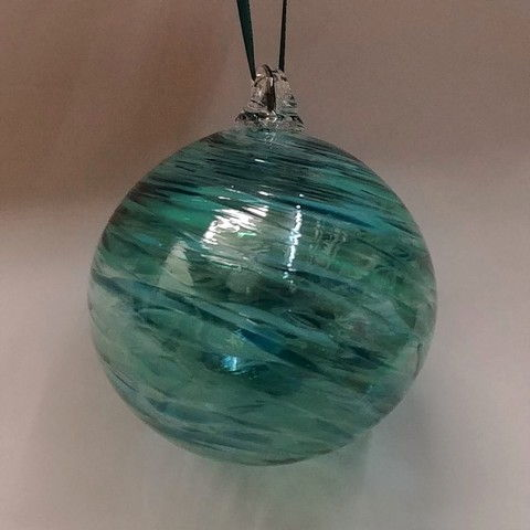 Click to view detail for DB-276 Ornament - frit twist teal