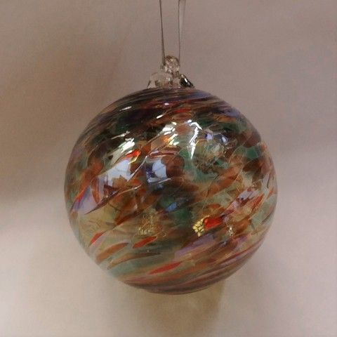 DB-281 Ornament - frit twist earth tone at Hunter Wolff Gallery